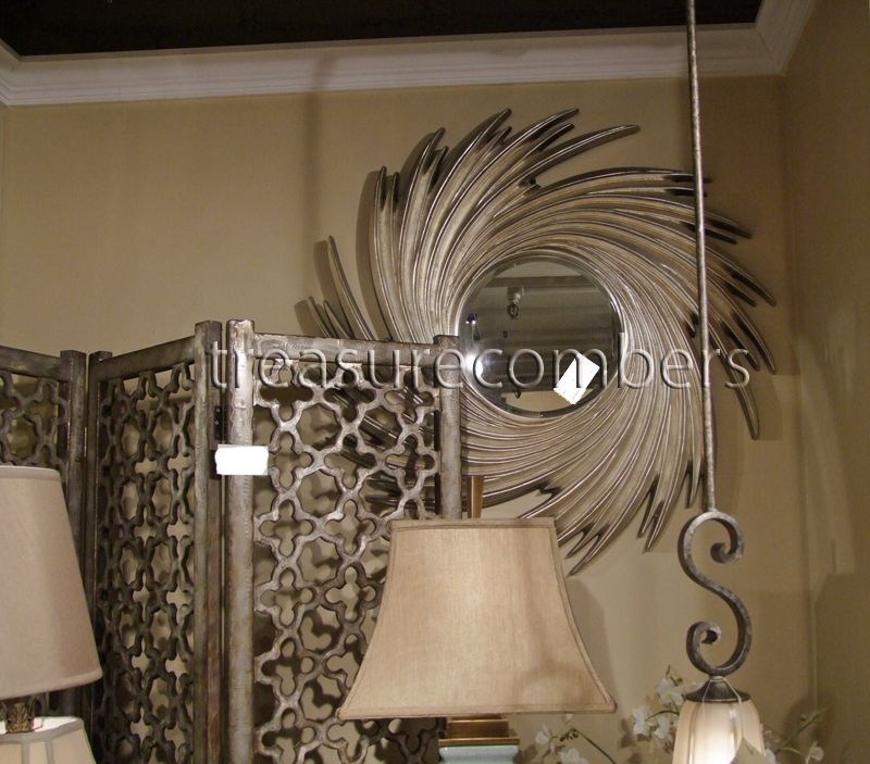Large Round Beveled Modern Silver Cyclone Wall Mirror