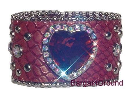 Red Heart Snake Leather Bling Rhinestone Cuff Bracelet
