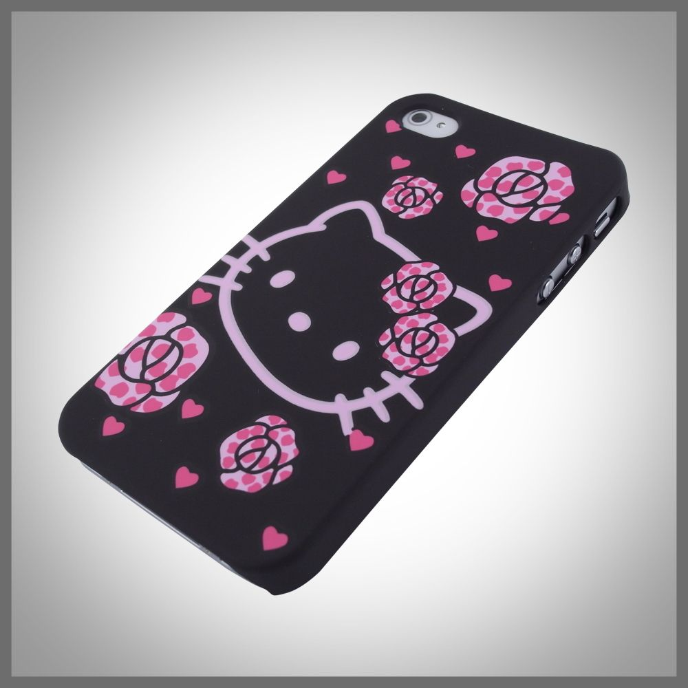 ™ Hello Kitty Hearts Roses Black hard case cover iPhone 4 4G 4S