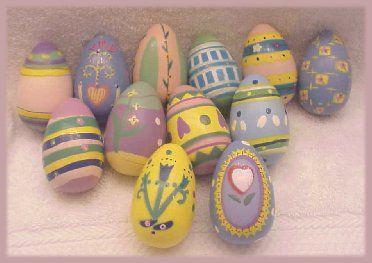 12 New Lillian Vernon Handpainted Wooden Easter Eggs