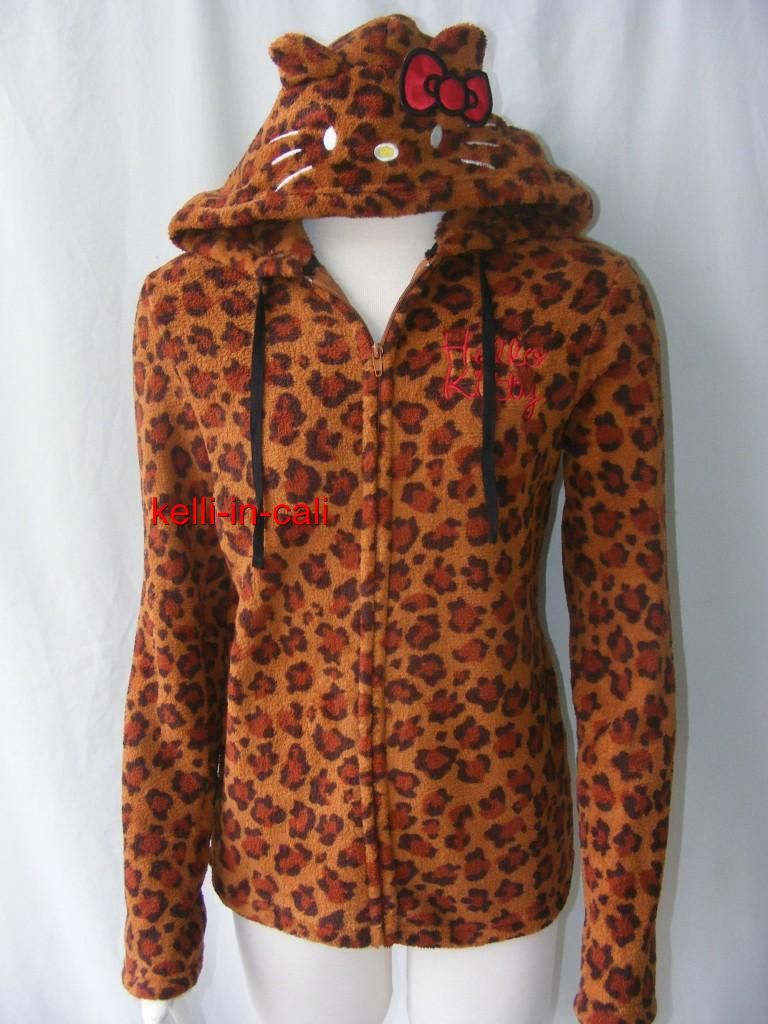 Hello Kitty Cat Face Ears Hood Plush Leopard Hoodie Jacket Halloween