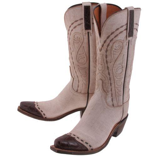 Lucchese Cream Caiman Crocodile Womens Western Cowboy Boots