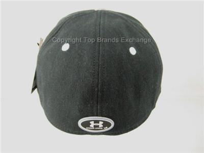 Mens Under Armour Black Gray Baseball Cap Hat Lid HeatGear Running