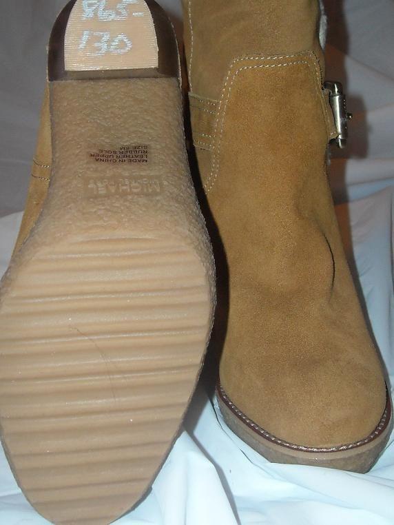 Michael Kors Sheepskin Suede Derby Boots Camel Brown 5