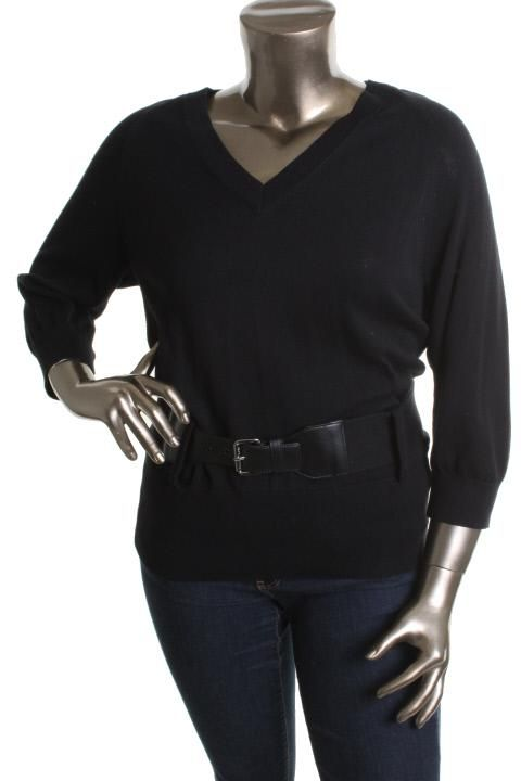 Michael Kors New Black 3 4 Raglan Sleeved Belted V Neck Tunic Sweater