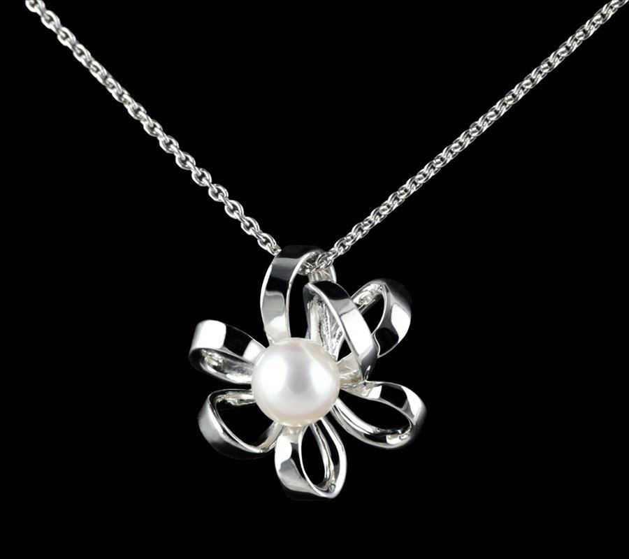 Mikimoto Blossom 18k White Gold Akoya Pearl Pendant Necklace RRP £840