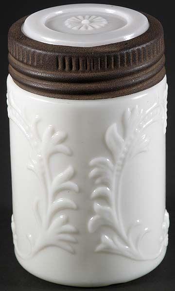 Embossed White Milk Glass Fruit Jar Half Pint Mustard