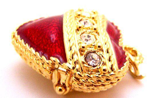 Rhinestone Red Heart Pendant Trinket Box by Mike Ally