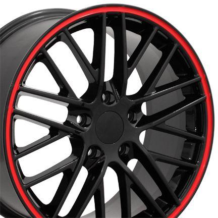 18 Corvette C6 ZR1 Black Red Lip Wheels Set of 4 Rims Fit Chevrolet