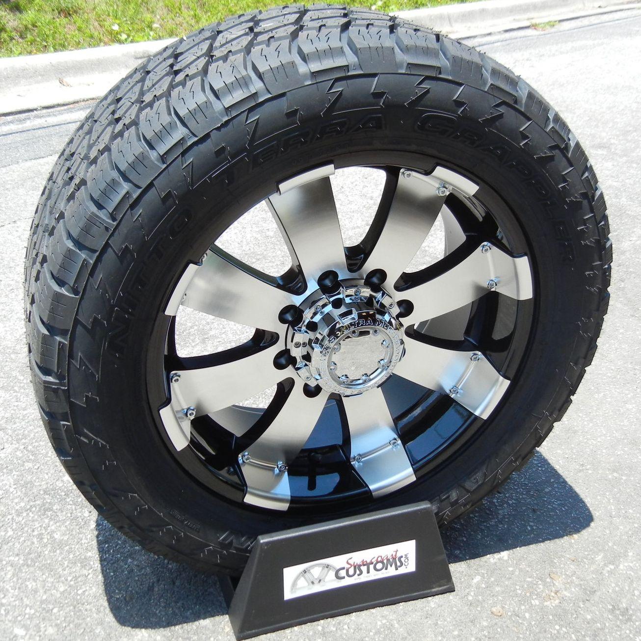 20 Black Ultra Wheels 33 Nitto Terra Tire Chevy Silverado GMC 2500