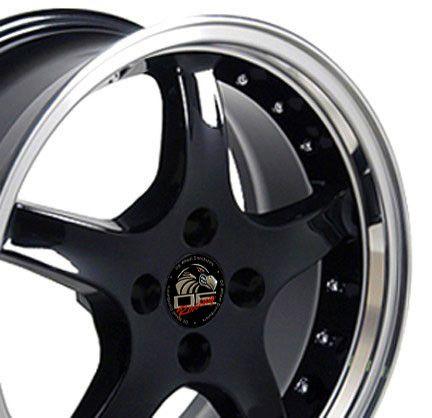 17 x 8 / 17 x 9 Black 4 Lug Staggered Cobra Wheels Rim Fits Mustang