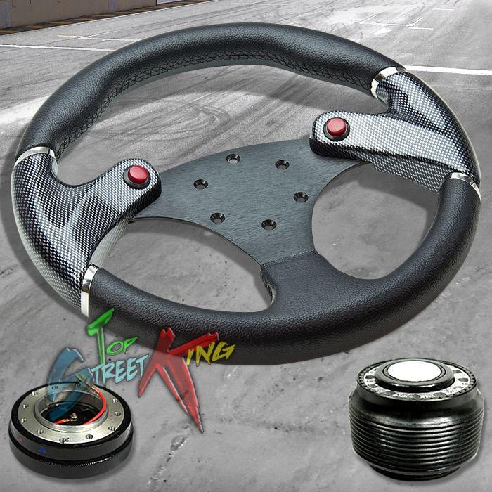 320mm Carbon Sim Black Race Steering Wheel Hub Quick Release AE86 MR2