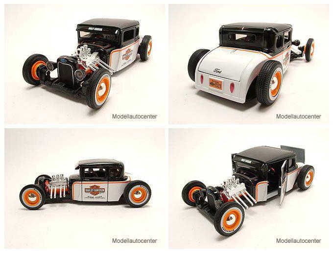 Ford Model A 1929 Hot Rod Harley Davidson schwarz/weiß, Modellauto 1