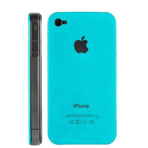 Hard Case Cover Transparent Modern Design iPhone 4 Blau Hellblau