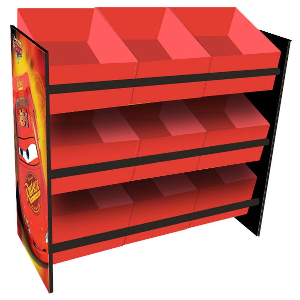 kinderregal mit 9 boxen disney cars kinderm bel holz. Black Bedroom Furniture Sets. Home Design Ideas