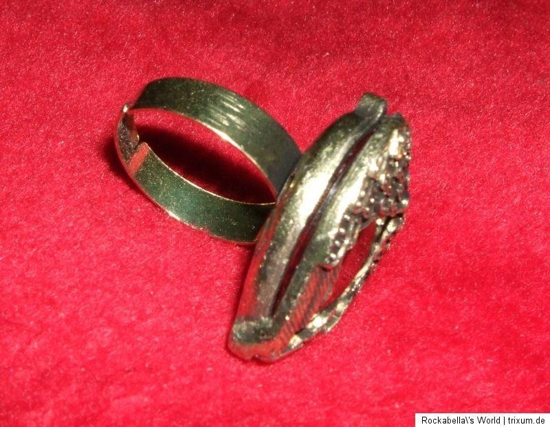 Ring Angel Wings Vintage Flügelherz blutrot Kristall Steampunk