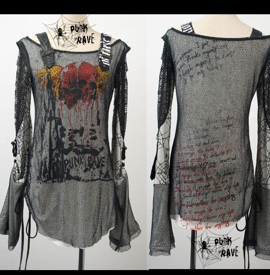 fashion Unisex Visual Kei cool Punk Gothic Lolita Rock t shirt Blouse