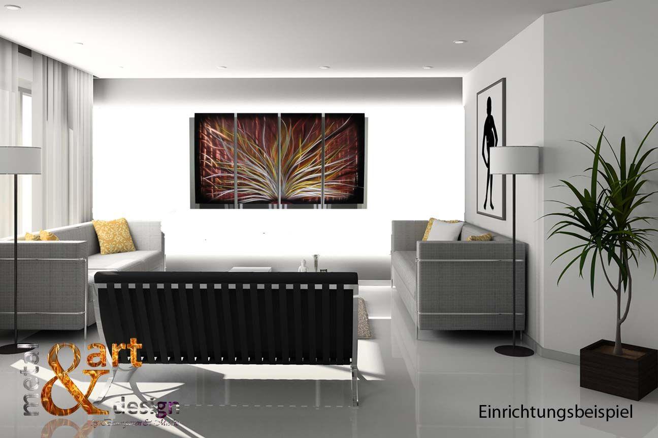 VK 519,00 METAL & ART DESIGN Wandbild Bild Schwarz Rot Gold Metallbild