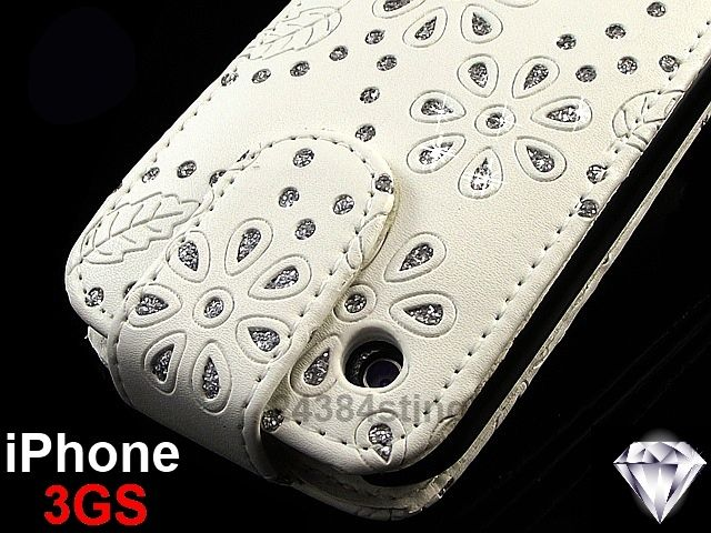 DIAMOND BLING GLITTER LEATHER FLIP CASE for iPHONE 3GS