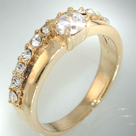R810/18 Neu Luxus Damen Gold Ring m. Zirkonia & Strass Schmuck/Ringe
